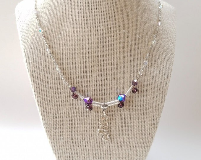 Purple Swarovski sterling silver necklace, purple crystal jewelry, shinny purple necklace, unique purple necklace, bridal necklace