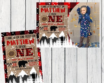 Lumberjack Winter Snow First Birthday Or Any Age Personalized invitation- ***Digital File*** (Lumber-SnowPic)
