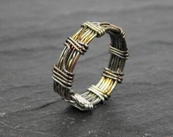 Men's Aengus Woven Ring in Stainless Steel