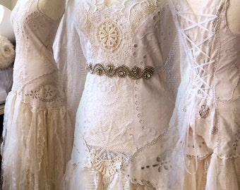 SOLD Boho wedding dress lagenlook,Bridal gown french lace,repurposed wedding laces, handmade wedding dress, love wedding dress,farm weddings