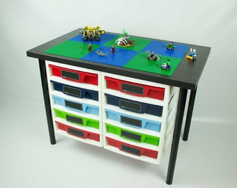 Construction Desk with 2 attached five drawer storage unit, 20x30 inch building area