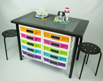 Constuction Desk with 2 attached 5 drawer storage unit, 20x30 inch building area, 2 Stools
