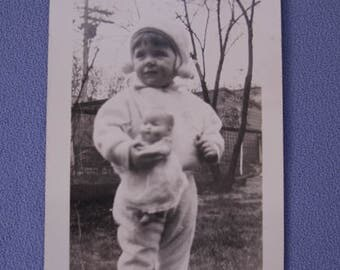 Vintage Black and White Photo, Toddler with Doll