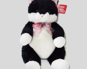 "Vintage 9"" Plush Bitsi the Black & White Kitty Cat Kitten Toy By Gund New With Tags 1478"