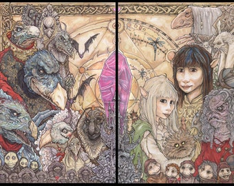 The Dark Crystal Gelflings and Skeksis 11x17 Poster Print set of 2 Chris Oz Fulton