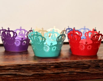 180 pcs - Carousel Filigree Cupcake Wrappers / Laser-Cut Cupcake Liner Decor - DIY Wedding, Birthday, Shower Party, Cake Decoration