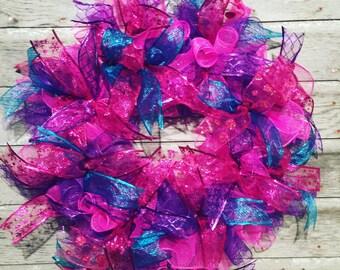 "24"" spring wreath / deco mesh wreath / purple pink and teal deco mesh wreath"