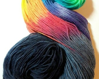 Night Rainbow 100g hand dyed dk wool, knitting yarn , crochet yarn, superwash merino, double knit wool, rainbows , space dyed wool