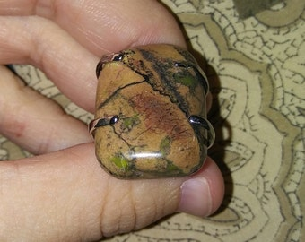 Brown and green Rhodonite ring