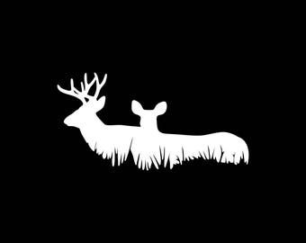 Deer Decal Buck Car Decal Buck and Doe Decal Hunted Hunter Hunting Car Decals Cute Deer Decal Wall Decal Laptop Tablet Bumper Sticker