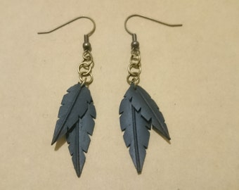 Bicycle inner tube small double feather earrings