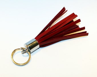 Leather Tassel Keychain.Red Leather Keychain. 100% Handmade key chain! Great gift!