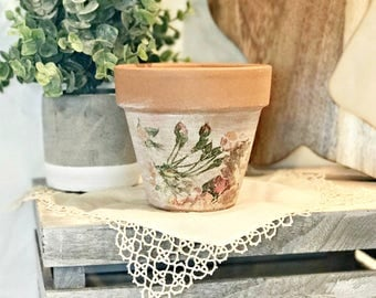 Terra Cotta Pot - Flower Pots - Terra Cotta Plant Pot - Terra Cotta Pots - Decorated Pot - Farmhouse Decor - Shabby Chic Decor -Garden Decor