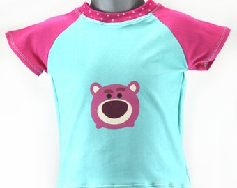Children's raglan t-shirt with pink bear  in size 3 - 6 months