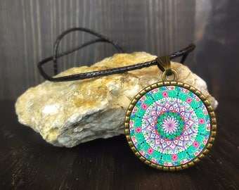 Blue and pink mandala jewelry, perfect as a gift idea for girls and ladies; sacred geometry shapes and lotus flower.