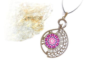 Mandala jewelry in buddhist style; zen necklace for birthday gift and best friend; mandala pendant for spiritual awakening.