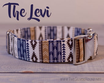The Levi Collar - Blue/Navy & Brown/Cream/Tan Tribal Pattern Fabric Dog Collar - Choose your width and hardware! - By The Silver Hound