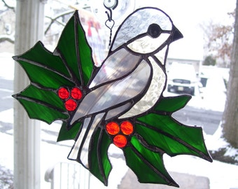 Stained Glass Chickadee & Holly Sun Catcher
