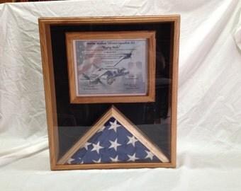 Custom Hardwood Memorial Flag and Certificate Display Case - Iraq- Afghanistan