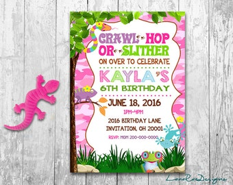 Reptile Birthday Invitation, Creepy Crawly Invitation, Girl Reptile Birthday Invitation, Reptile Invitations for Girls