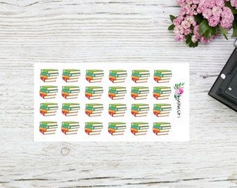 Planner stickers books, bookpile stickers for planning or reading