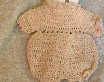 Vintage Crocheted Doll Romper Small