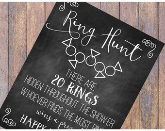 Ring Hunt Bridal Shower Game | Instant Download | Chalkboard Sign | 8.5 x 11 | Printable | Bridal Shower Games | Bridal Shower Decorations
