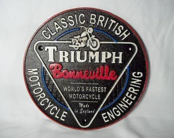 Heavy Cast Iron TRIUMPH MOTORCYCLE Sign Plaque Advertising Dealer Shop Display Sign Free Shipping Bonneville Salt Flats