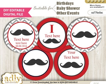 DIY Editable Man Mustache Cupcake Toppers Digital File, print at home favor tags birthday, baby shower, baptism Beau - oz77bs0ac