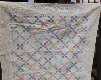 Vintage Hand Quilted 4-Patch Small Quilt or Wall Hanging - FREE SHIPPING