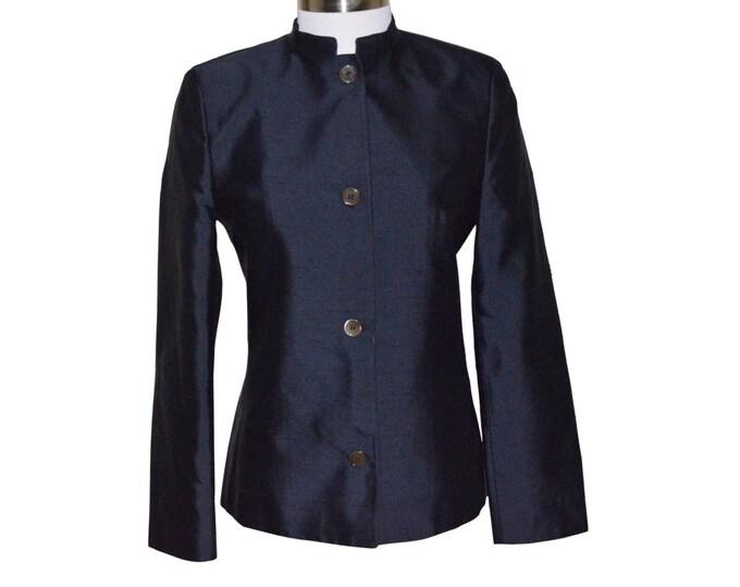Vintage Estate Michael Kors Sak Fifth Avenue Navy Blue Silk Blazer