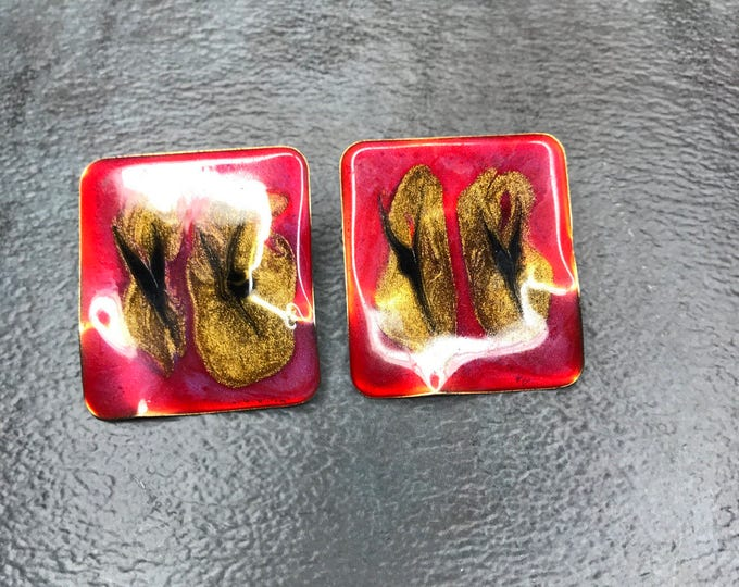 Vintage Estate Black Red Gold Abstract Earring