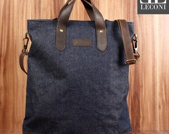 LECONI shopper-LAN bag shoulder bag women's Jeans Denim leather dark blue LE0037-D