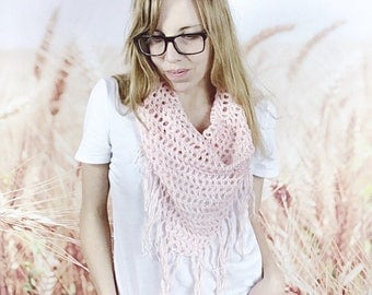 Crochet Triangle Fringe Scarf, Spring Scarf, Boho Triangle Scarf, Beach Cover Up, Fringed Scarf, Boho Summer Fashion - {BLUSH}