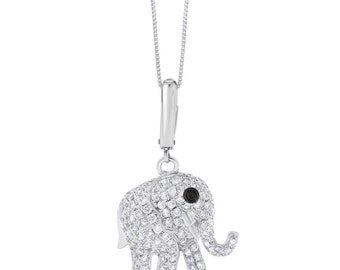 1.01 Ct. Natural Diamond Micro Pave Elephant Pendant In Solid 18k White Gold