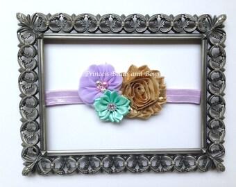 Lavender Aqua and Gold Flower Headband, Floral headband, Shabby Chiffon Headband, Girls Headband, Infant Headband, Little Girls Baby