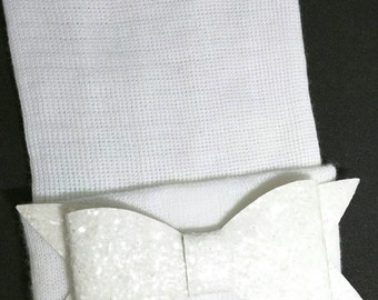 Newborn Hospital Hat. White with White Shimmer Bow. 1st Keepsake! Newborn Beanies. Great Going Home Hat