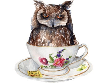 Watercolor Print WHO wants Tea?  8.5 x 11