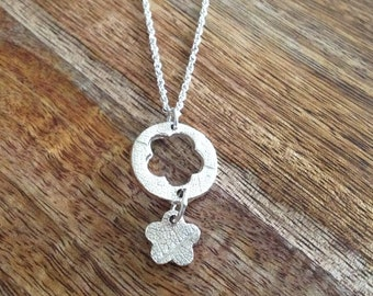 Handmade Sterling Silver Flower Charm Necklace, 999 silver necklace, fine silver necklace, flower necklace, patterned necklace