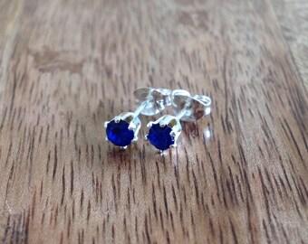 Handmade 4mm Silver & Crystal Stud Earrings - Saphire Blue, Sterling Silver Stud Earrings, Blue Earrings, Silver Jewellery, Crystal Earrings