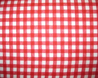 100 percent cotton fabric/ red and white checked/quilting/crafts