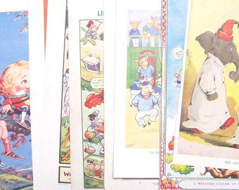 Pack of 10 vintage book plates: colour plates from young children's books. Ephemera for framing, home decor, scrapbooks, craft paper BP35