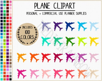 SALE 100 AIRPLANE clipart plane stickers travel planner stickers plane icon cute rainbow travel clipart plane clipart vacation stickers ECLP
