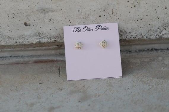 Mini porcelain Square Stud Earrings w 18k gold Polka dots
