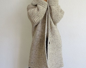 knit cardigan, bulky, wool cardigan, off white, hand knit, long cardigan, oversize, knit coat, chunky, grey jacket, tweed, made to order