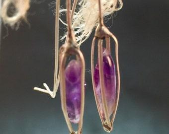 sterling silver earrings, Amethyst earrings, quartz crystal earrings, sea glass earrings, labradorite earrings, sea pod earrings, fixed cage