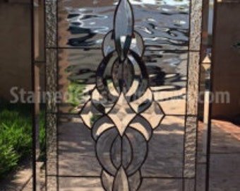 "The ""Oakley"" Lovely and Classic Stained & Beveled glass window panel (we do custom work, email me for quote)"