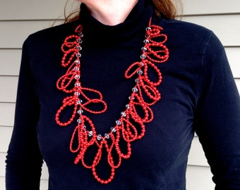 Red Loops and Faceted Glassl Necklace