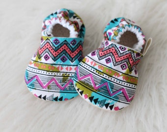 Aztec Baby Shoe, Baby Girl Shoe, Baby Booties, Baby Shoes, Soft Sole Shoes, Blue Baby Shoes, Baby moccasins, Baby Girl Booties