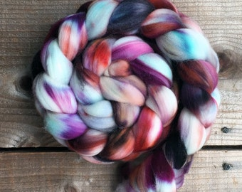 AESTHETE color, Superwash Targhee spinning fiber, roving, handpainted, hand dyed, combed top, domestic, American made, wool